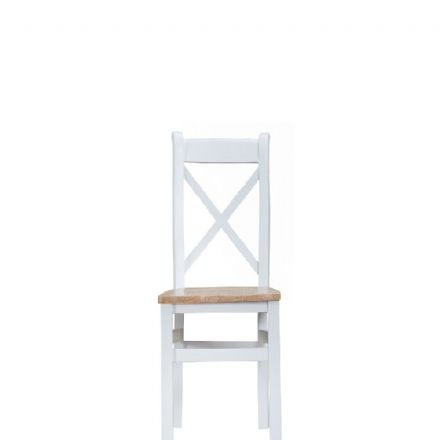 Toulouse White Cross-Back Wooden Seat Chair